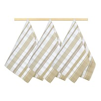 Ścierki kuchenne Kratka beżowy, 50 x 70 cm, komplet 3 szt.