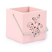 Závesný drevený svietnik Motýľ ružová