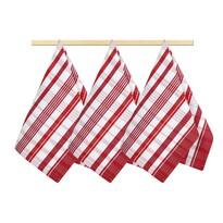 Kuchyňská utěrka Kostka bíločervená, 50 x 70 cm, sada 3 ks