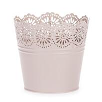 Zinkový kvetináč Čipka ružová, pr. 13,5 cm