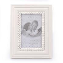 Dřevěný fotorámeček Cupido, bílá