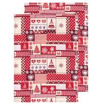 Kuchynská utierka Vianoce červená, 50 x 70 cm, sada 2 ks