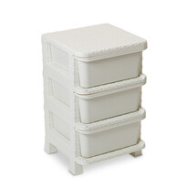 Komoda 3 szuflady sztuczny Rattan, biały