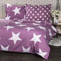 Pościel bawełniana New Stars fioletowa, 140 x 200 cm, 70 x 90 cm