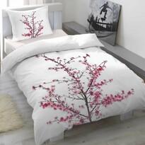 Pościel satynowa Cherry blossom, 140 x 200 cm, 70 x 90 cm