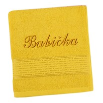 Ručník s výšivkou Babička žlutá, 50 x 100 cm
