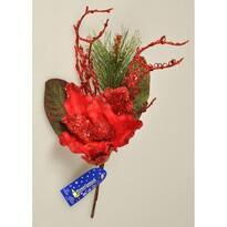 Vánoční větvička Magnólie s korálky červená, 45 cm