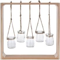 Drevený rám s pohármi, 38 x 38 cm