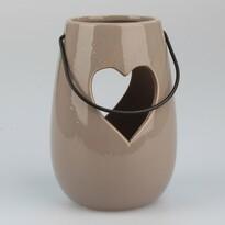 Felakasztható kerámia gyertyatartó Szív barna, 14,5 cm