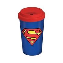 Superman Hrnek cestovní s víčkem 340 ml, modrá