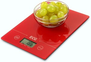 ECG KV 117 Slim kuchynská váha, červená