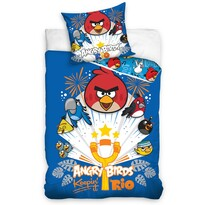 Dětské bavlněné povlečení Angry Birds Prak modrá, 140 x 200 cm, 70 x 80 cm