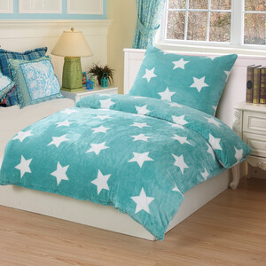 Obliečky mikroplyš Stars mint, 140 x 200 cm, 70 x 90 cm