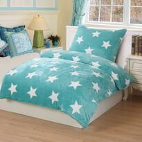 Pościel pluszowa Stars mint, 140 x 200 cm, 70 x 90 cm