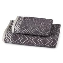 Osuška a ručník Geometrie šedá, sada 2 ks