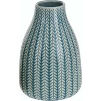 Wazon porcelanowy Knit niebieski, 16 cm