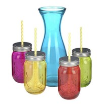 Sada barevných sklenic s brčky 4 ks + karafa