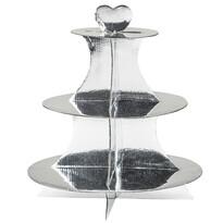 3patrový servírovací stojan, stříbrná