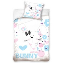 Dětské balvněné povlečení Králíček Bunny, 140 x 200 cm, 70 x 80 cm