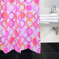 Sprchový záves Kruhy ružová, 180 x 180 cm