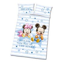 Obliečky do detskej postieľky Mickey a Minnie modrá, 135 x 100 cm, 40 x 60 cm