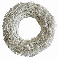 StarDeco Dekorativní věnec Perličky bílá, 28 cm