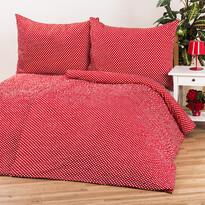 Lenjerie pat 1 pers. Pallas, Bulină roşie, creponată, 140 x 200 cm, 70 x 90 cm