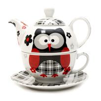 3-dielna čajová súprava Čierna sova