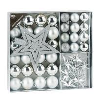 Sada vánočních ozdob Luxury stříbrná, 45 ks