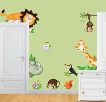 Naklejka dekoracyjna Kolorowe zwierzątka sawanna