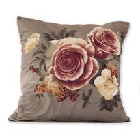 Poszewka na poduszkę Klasic róże szary, 45 x 45 cm