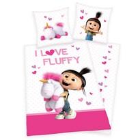 Dětské bavlněné povlečení Mimoni Agnes - I love Fluffy, 140 x 200 cm, 70 x 90 cm