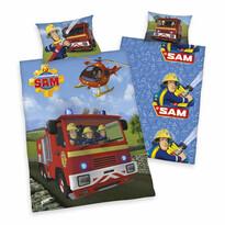 Lenjerie de pat pentru copii Pompierul Sam în acţiune, 140 x 200 cm, 70 x 90 cm