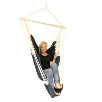 Krzesło hamakowe ogrodowe zoparciem na nogi, niebieski