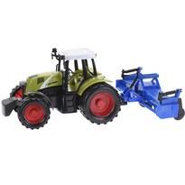 Traktor utánfutóval kék, 20 cm