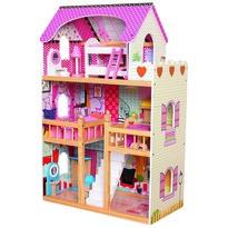 Bino Drewniany domek dla lalek z mebelkami