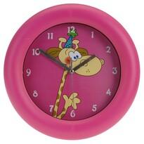 Zegar ścienny Giraffe różowy, 26 cm