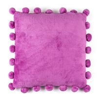Polštářek Pompon fialová, 45 x 45 cm