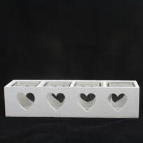 Drevený svietnik so sklom na 4 sviečky Srdce, biela