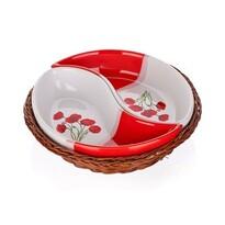 BANQUET Red Poppy 2dílná servírovací miska v košíku