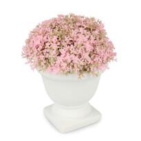 Umelá kvetina v betónovom kvetináči, ružová
