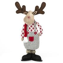 Vánoční sob s červenou šálou, 43 cm