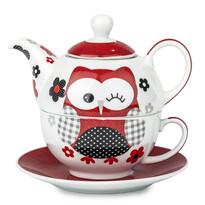 3-dielna čajová súprava Červená sova