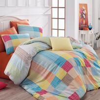 Bavlněné povlečení Karo oranžová, 220 x 200 cm, 2 ks 70 x 90 cm