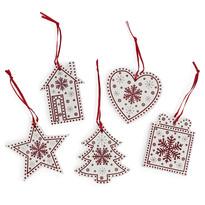 Závesná vianočná dekorácia Folklór biela, 5 ks