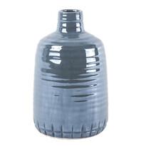 Gyöngyház kerámia váza kék, 21 cm