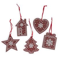 Závesná vianočná dekorácia Folklór červená, 5 ks