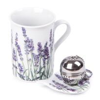 Komplet kubka 250 ml, sitka do herbaty i podstawki Lawenda