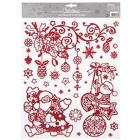 Happy Christmas karácsonyi ablak dekoráció, piros