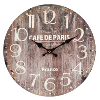 Nástenné hodiny Wood hnedá, pr. 34 cm